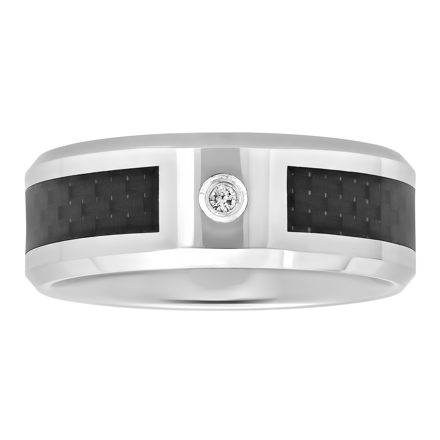Mens Tungsten and Carbon Fiber 8MM Diamond Accent Wedding Band