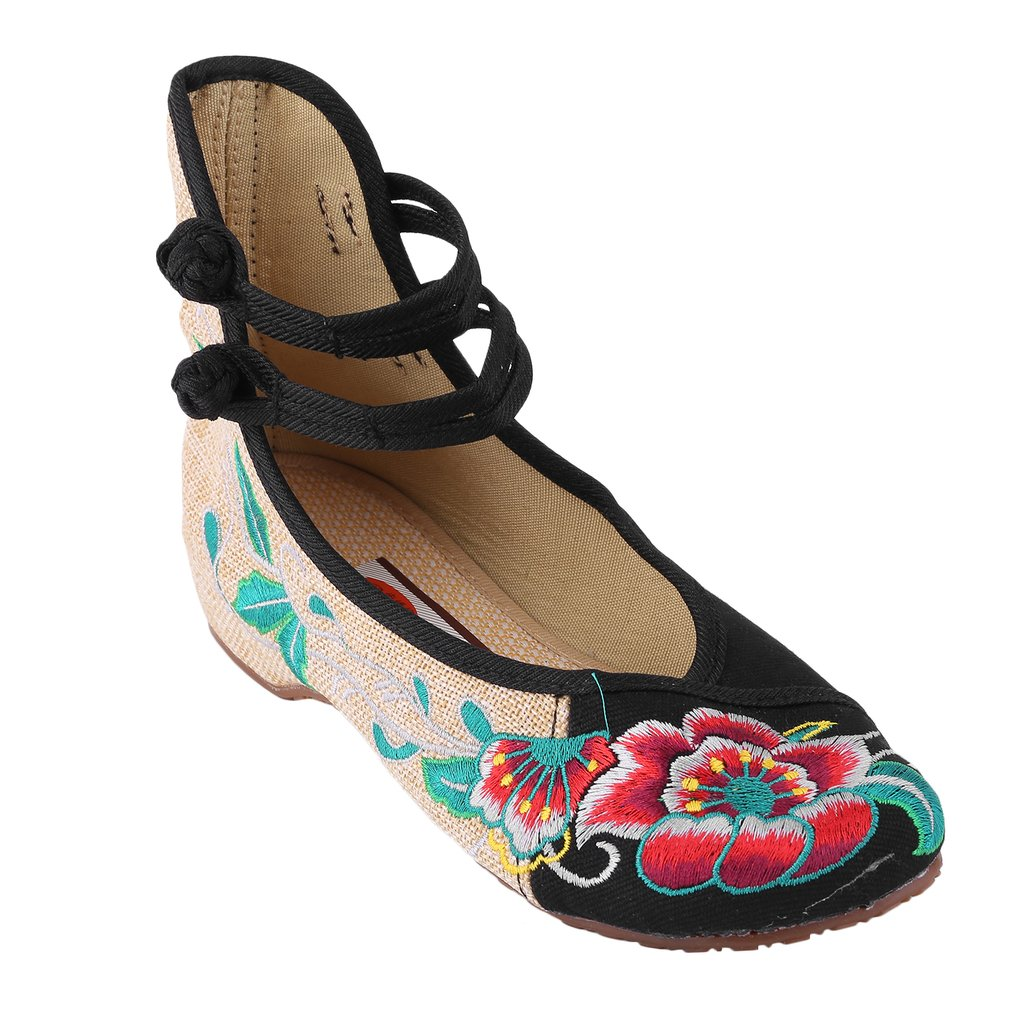 Chinese Style Womens Shoe Casual Soft Sole Shoes Comfortable Hibiscus Embroidered Shoes Fashionable Shoe Plus Size 40