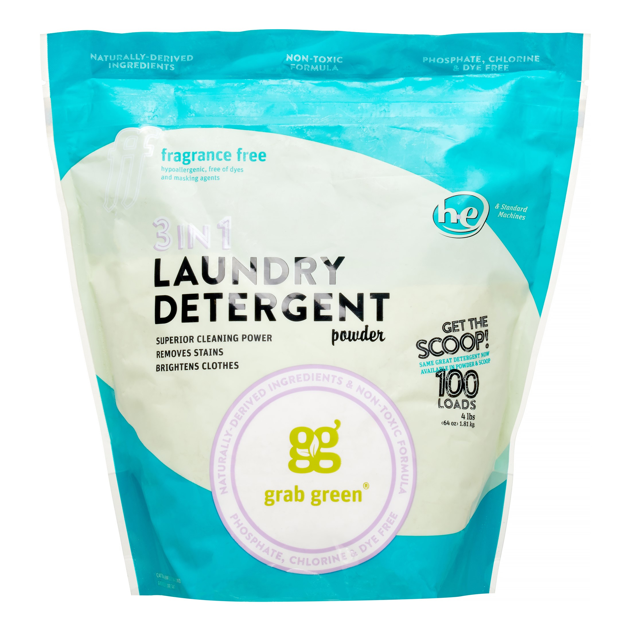 Grab Green 3 in 1 Laundry Detergent, Fragrance Free, 100 Loads