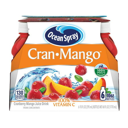 (2 pack) Ocean Spray Juice, Cran-Mango, 10 Fl Oz, 6