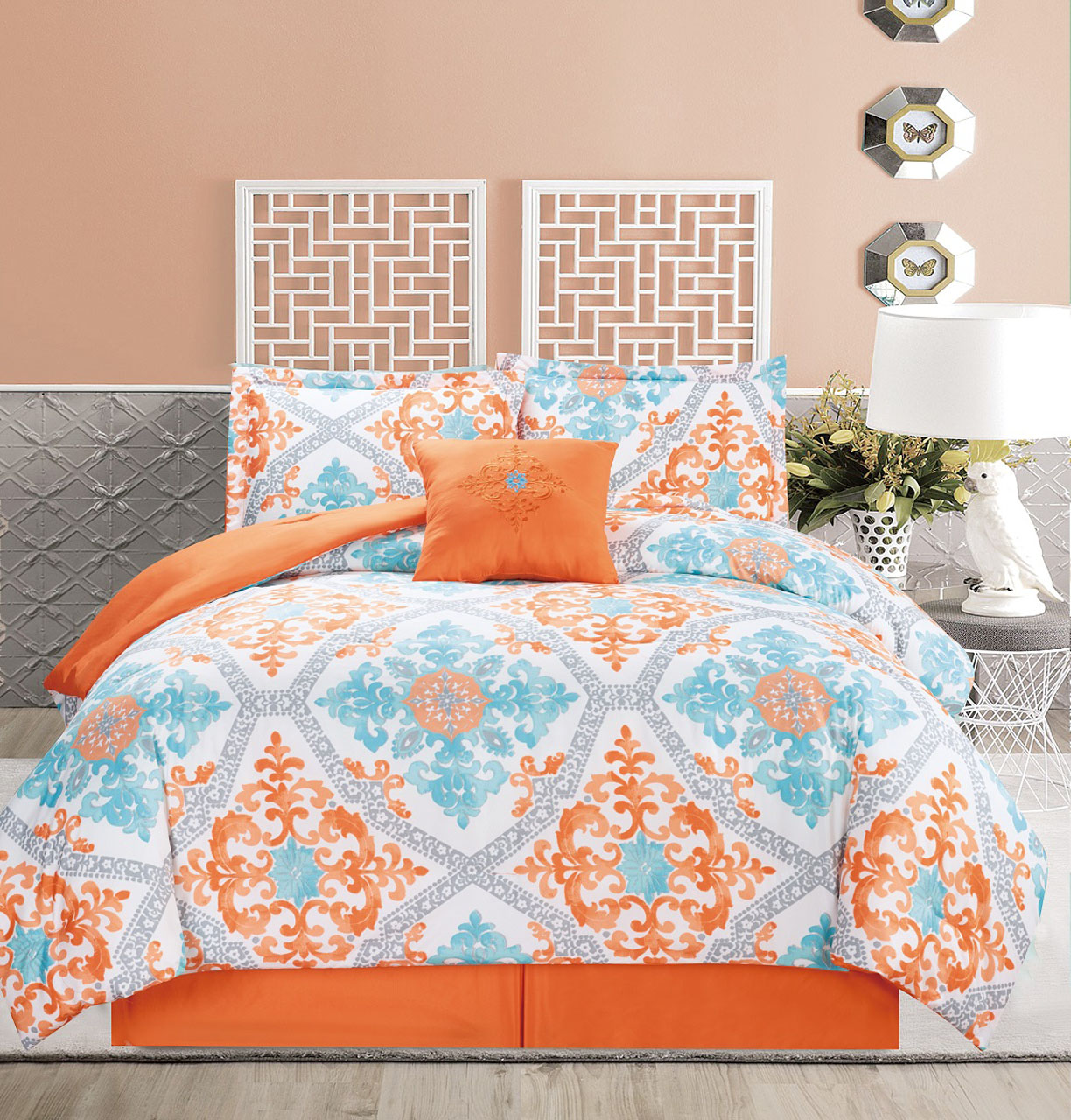 Ordinaire 5 Piece Regal Orange/Blue/White Comforter Set   Walmart.com