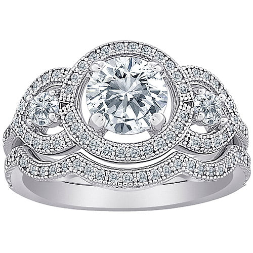 Majestic MicroPave Cubic Zirconia Sterling Silver 3-Stone 2-Piece Vintage Bridal Set by MBM