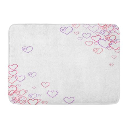 GODPOK Pink Hearts Confetti Scattered Little Red Purple Lilac Love Symbols Random Falling Sketch Shape on White Rug Doormat Bath Mat 23.6x15.7 inch ()