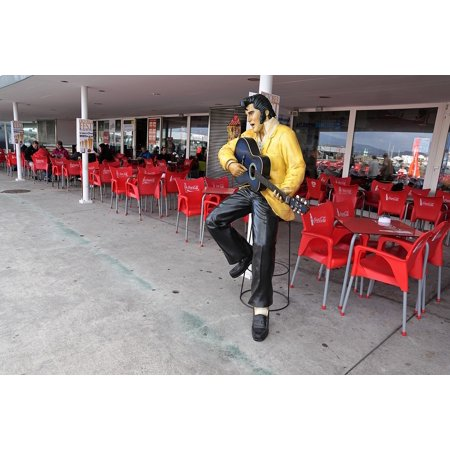 Canvas Print Statue Cafe Elvis Out Azores Portugal Bar Stretched Canvas 10 x - Elvis Cut Out