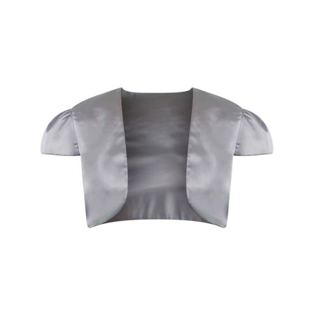Silver Short Sleeve Satin Style Bolero Shrug Jacket Size - Silver Fusion Jackets