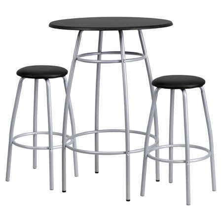 Flash Furniture Bar-Height Table and Stool Set with Bowed-Out Legs, (Best Flash Furniture Unique Dining Tables)