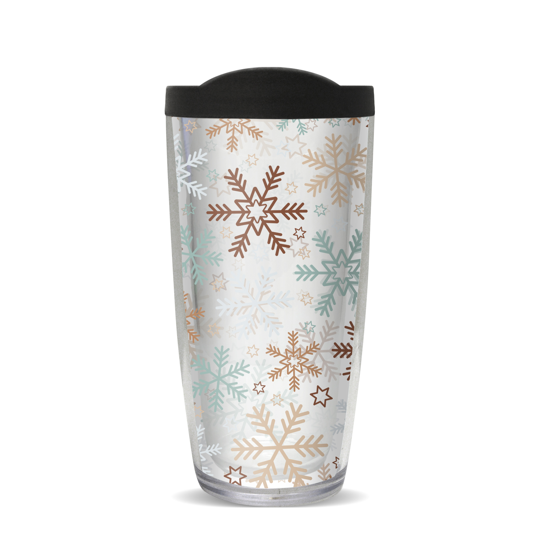 Snowflakes Insulated 16 Oz Travel Tumbler Mug With Black Lid Walmart Com Walmart Com