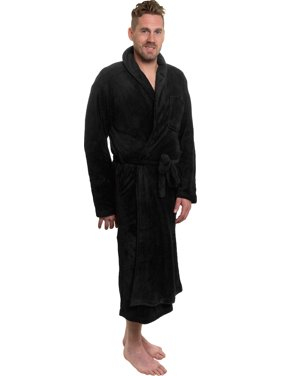 Ross Michaels Mens Black Plush Shawl Collar Luxury Kimono Bath Robe (XXL)
