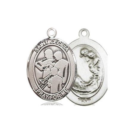 Bliss - St  Cecilia Patron Saint Medal in Sterling Silver