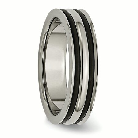 Engagement & Wedding Jewelry & Watches Titanium Grooved 6mm Black Plated Wedding Ring Band Size 6.50 Fashion Jewelry
