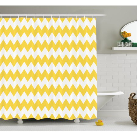 Yellow Stripe Shower Curtain - Yellow Chevron Shower Curtain, Old Fashioned Sharp Zigzag Stripes Geometric Sunny Summer Motif, Fabric Bathroom Set with Hooks, 69W X 84L Inches Extra Long, Earth Yellow White, by Ambesonne
