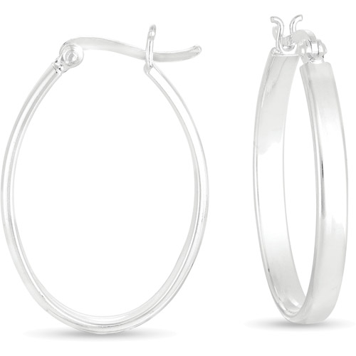 "Sterling Silver 1"" Oval Hoop Earrings"