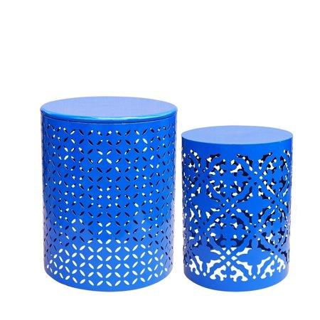 Jeco Royal Blue 2 Pcs End Table Set