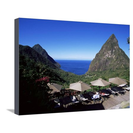 The Pool at the Ladera Resort Overlooking the Pitons, St. Lucia, Windward Islands Stretched Canvas Print Wall Art By Yadid (Ladera Spine Pool)