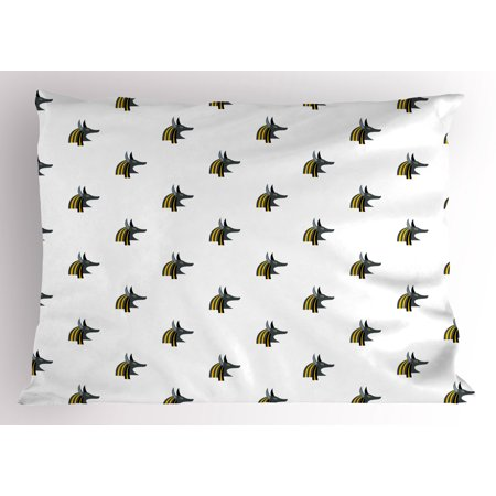 Egyptian Pillow Sham Head of an Indigenous Religious Figure Jackal Symbol Antiquities History, Decorative Standard Size Printed Pillowcase, 26 X 20 Inches, Grey Black Yellow, by Ambesonne (Egyptian Jackal Mask)