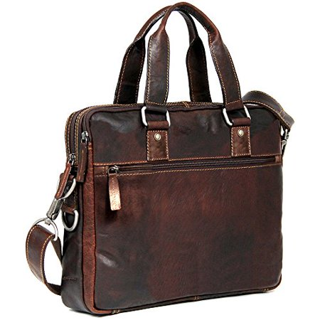 Jack Georges Voyager Slim Double Entry Top Zip Leather Laptop Briefcase in Brown