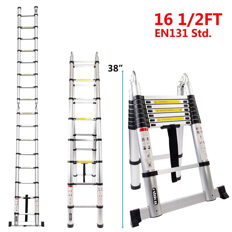 Zimtown EN131 16.5FT Aluminum Telescoping Telescopic Extension Ladder Tall Multi Purpose