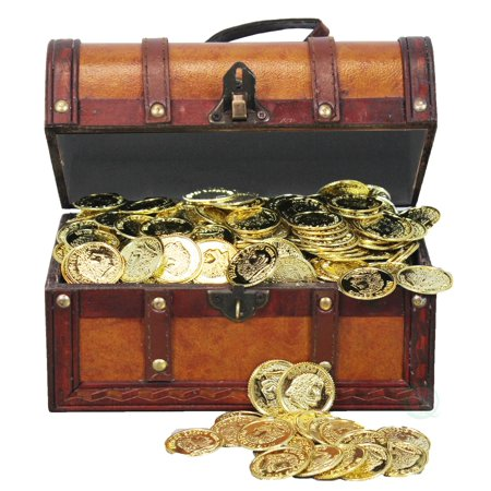 Faux Leather Pirate Treasure Chest with 144 Coins](Pirates Chest)