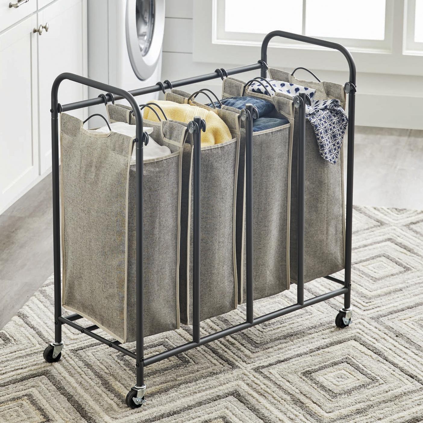Better Homes & Gardens Gunmetal Grey Rolling 4 Bag Laundry Sorter