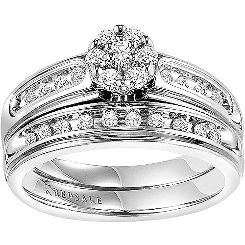 Keepsake Inspiring 3 8 Carat T.W. Certified Diamond 10kt White Gold Bridal Set by Frederick Goldman Inc.