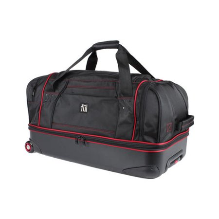 FUL Flx 28in Hybrid Rolling Duffel Bag, Retractable Pull Handle, Split Level Storage, Black