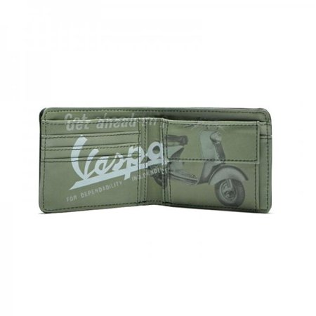 Vespa VPRL63 Wallet Eco Leather, Green - 3.5 x 4.7 in. ()
