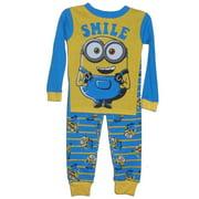 Minions Toddler Boys 2-Piece Blue & Yellow Smile Pajama Set 4T
