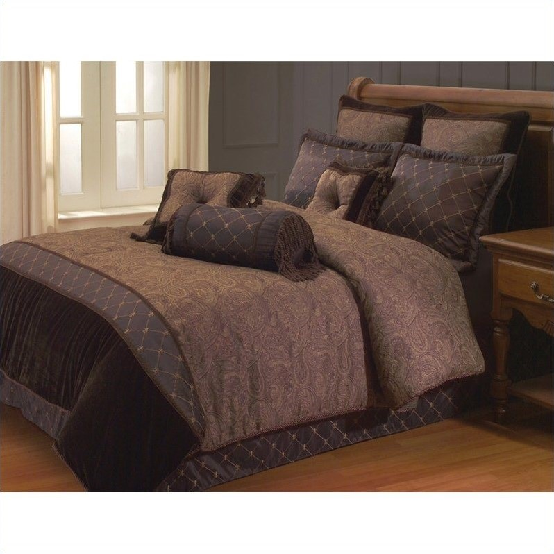 Opulent Paisley 9 or 10 Piece Comforter Set in Brown-10 Piece King