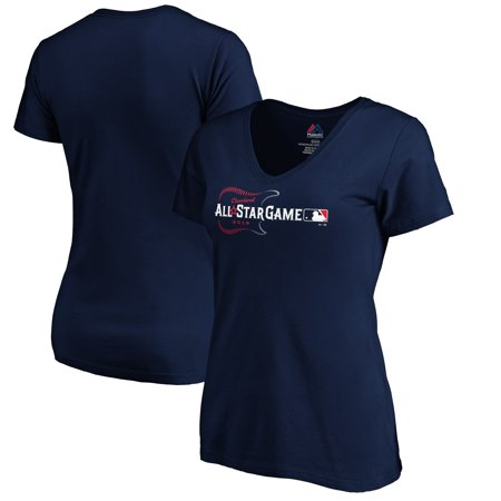 Majestic Women's 2019 MLB All-Star Game Primary Logo Plus Size V-Neck T-Shirt - Navy