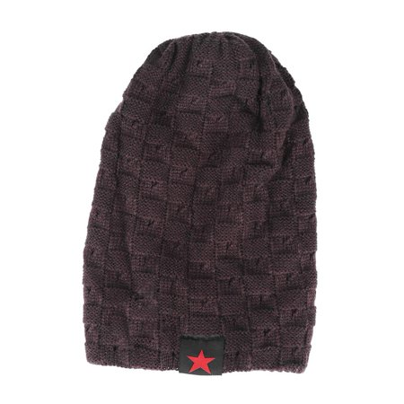 HERCHR Men and Women Fashion Hat, Men and Women Snow Cap, Unisex Winter Autumn Warm Knit Beanie Hats, Women's and Men Winter Hat, Small Five-Star Male and Female Hollow Double-Faced Knit Hat (Coffee) ()