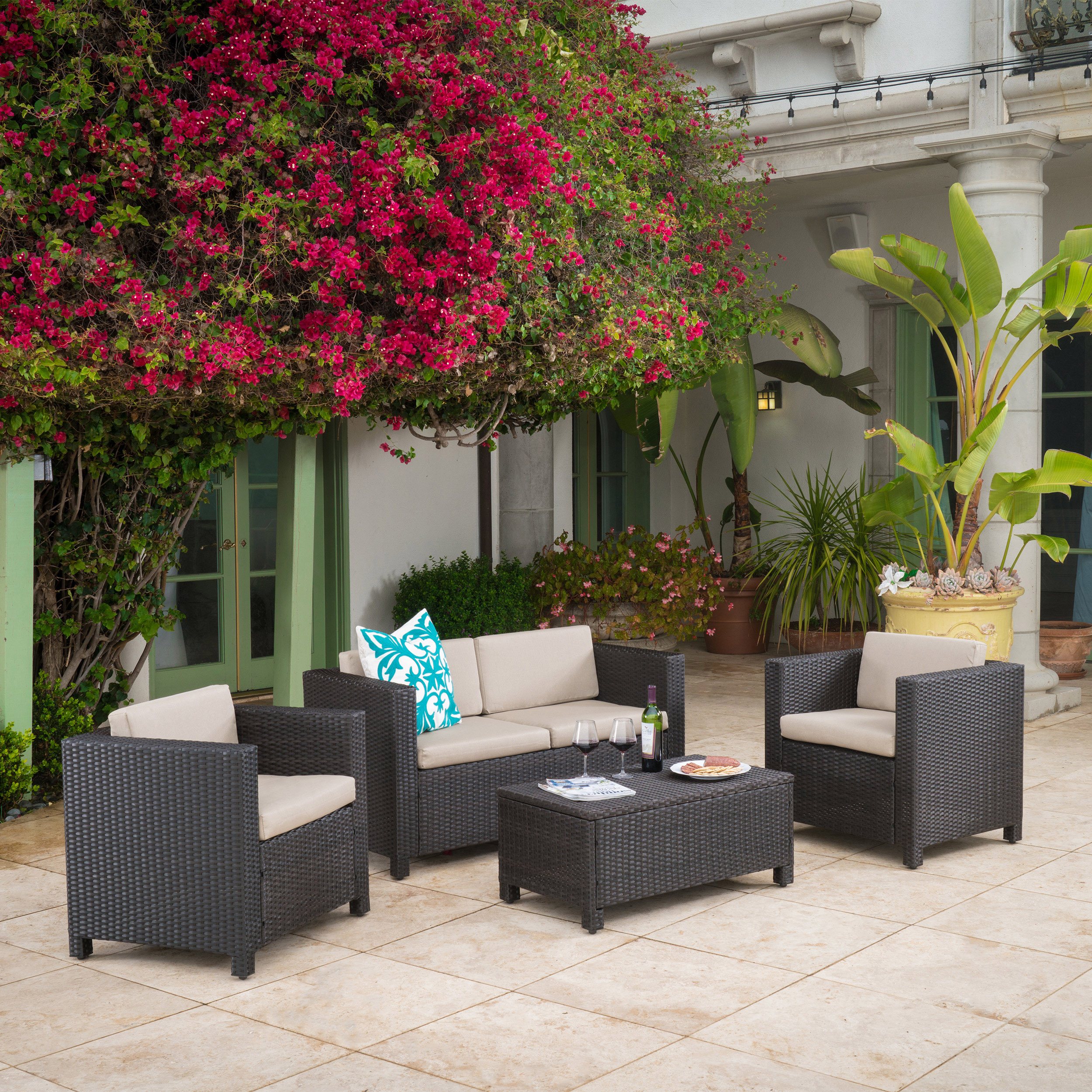 Raleigh Outdoor Wicker 4 piece Sofa Set, Multiple Colors by GDF Studio