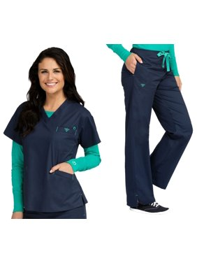 47254964b51bf Free shipping. Product Image Med Couture Signature V-Neck 3 Pocket Top    Signature Straight Leg Pant Scrub Set