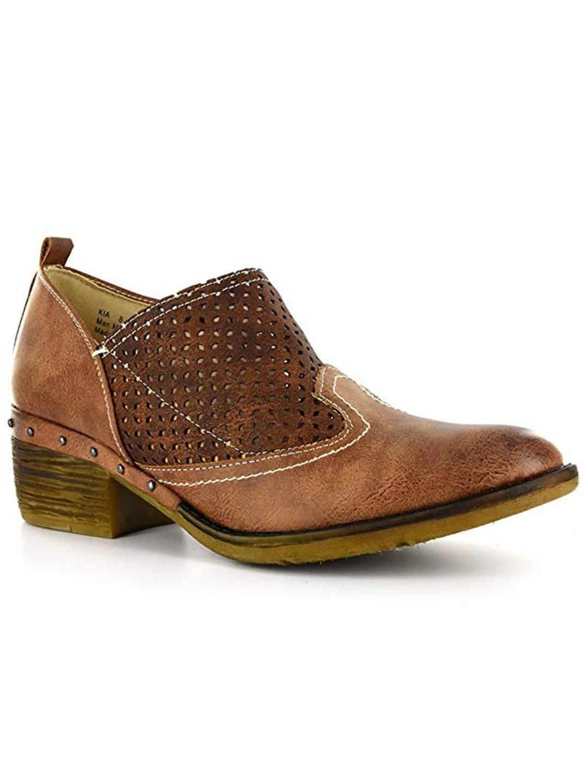 Corkys Footwear Kia Women's Western Bootie Shoe Brown Distressed 7 M by Corkys Footwear