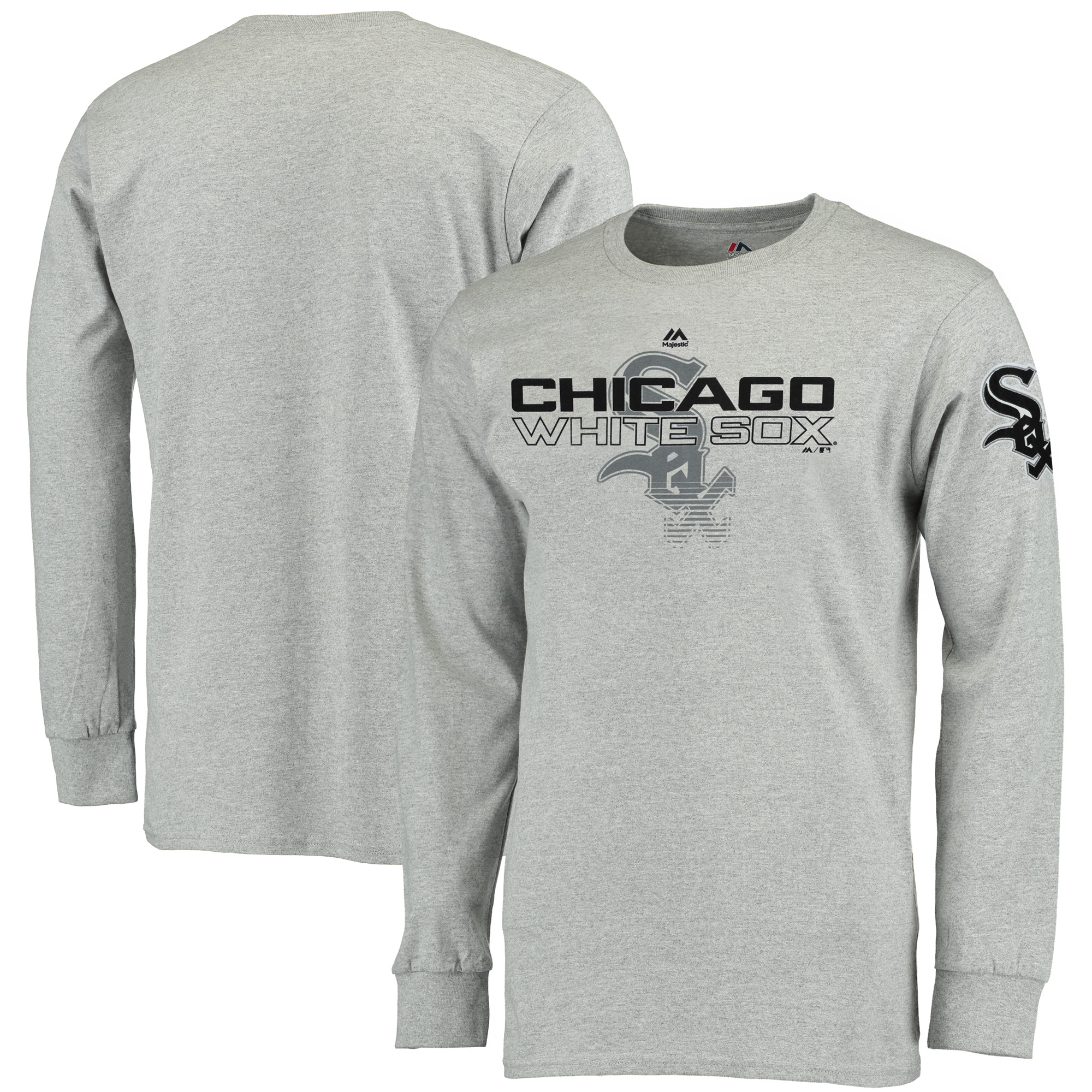 Chicago White Sox Majestic Big & Tall Two Hit Long Sleeve T-Shirt - Heathered Gray