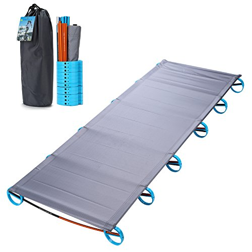 Yahill Ultralight Folding Bed Portable Cot, or Tent Bed Replacements Aluminium Alloy for Indoor Outdoor Camping Hiking Fishing (Grey)