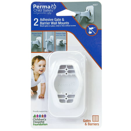Perma Adhesive Baby Gate & Barrier Wall Mounts, 2 Pack, No Drilling Installation Into Glass, Tiles & Metal Surfaces For All Perma Pressure Mounted Child Safety Gates and Playpen (Play Safety Tips)