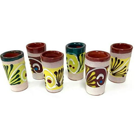 Made In Mexico Hand Painted Barro Clay Tequila Shots Glasses Set of 6 Assorted - Vaso (Best Tequila Sipping Glasses)