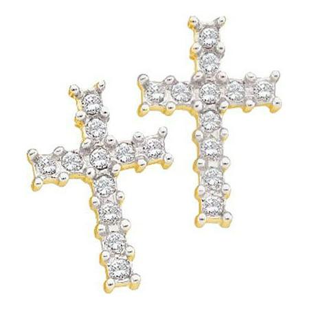 Mens Las Yellow Gold Micro Pave Round Cut Diamond Fashion Cross Earrings
