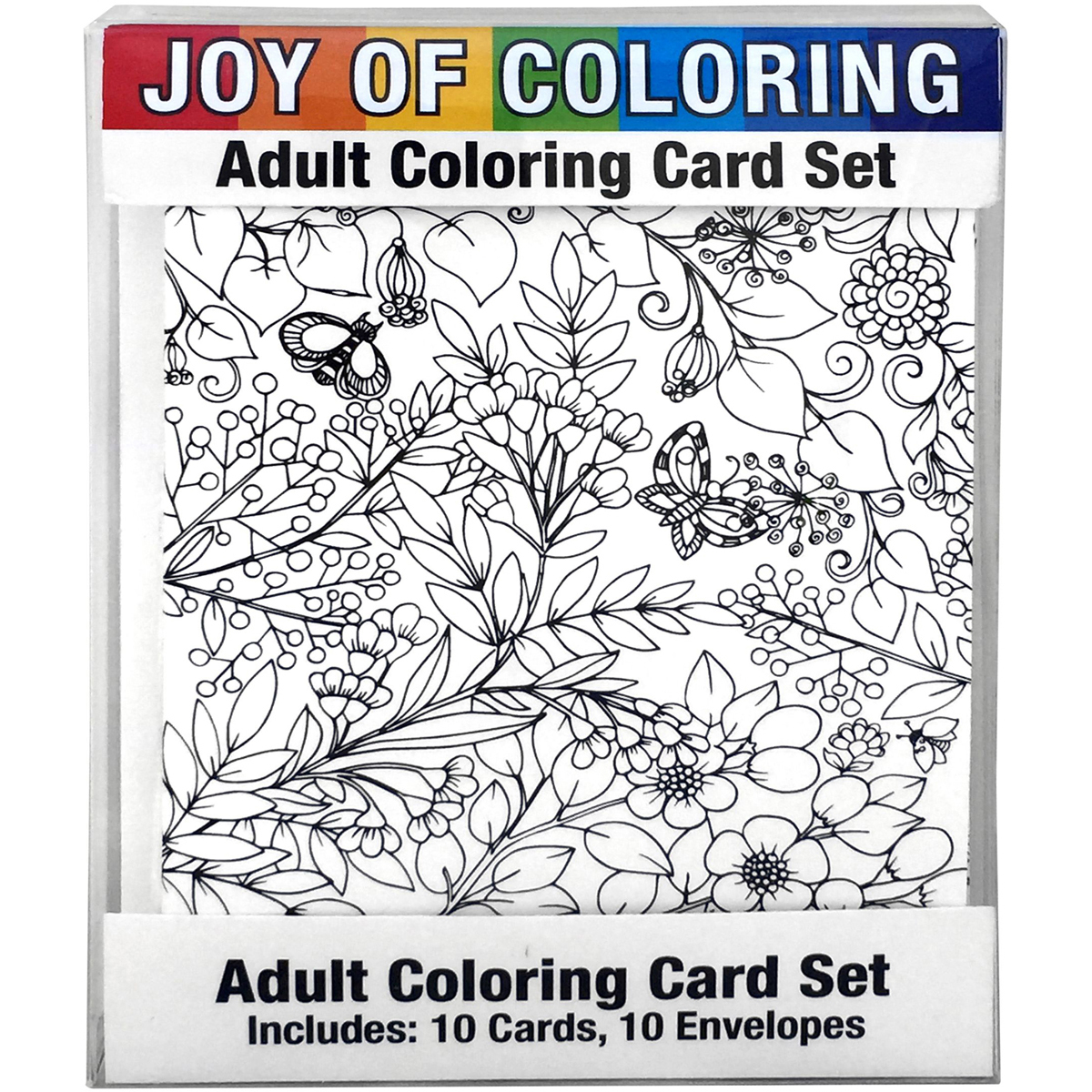 "Joy Of Coloring Adult Coloring Card Set 4""X5.5""-Enchanted Gardens"