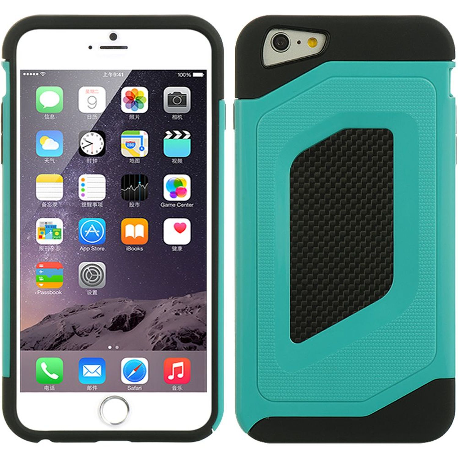 Apple iPhone 6 Plus/6s Plus Case, by DreamWireless Dual Layer Hybrid Hard Plastic/Soft TPU Rubber Case Cover For Apple iPhone 6 Plus/6s Plus, Black/Green