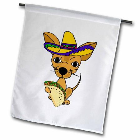 3dRose Cute Funny Chihuahua Dog in Sombrero eating Taco Cartoon - Garden Flag, 12 by 18-inch](Dog Sombrero)