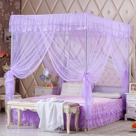 Princess Style Four Corner Post Mosquito Net Luxury Bed Netting Curtain Panel Bedding Canopy for Queen King Sizes ()