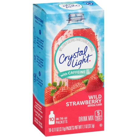 Crystal Light On The Go Energy Wild Strawberry Energy Drink Mix  10 Count  11 Oz  3 1 G