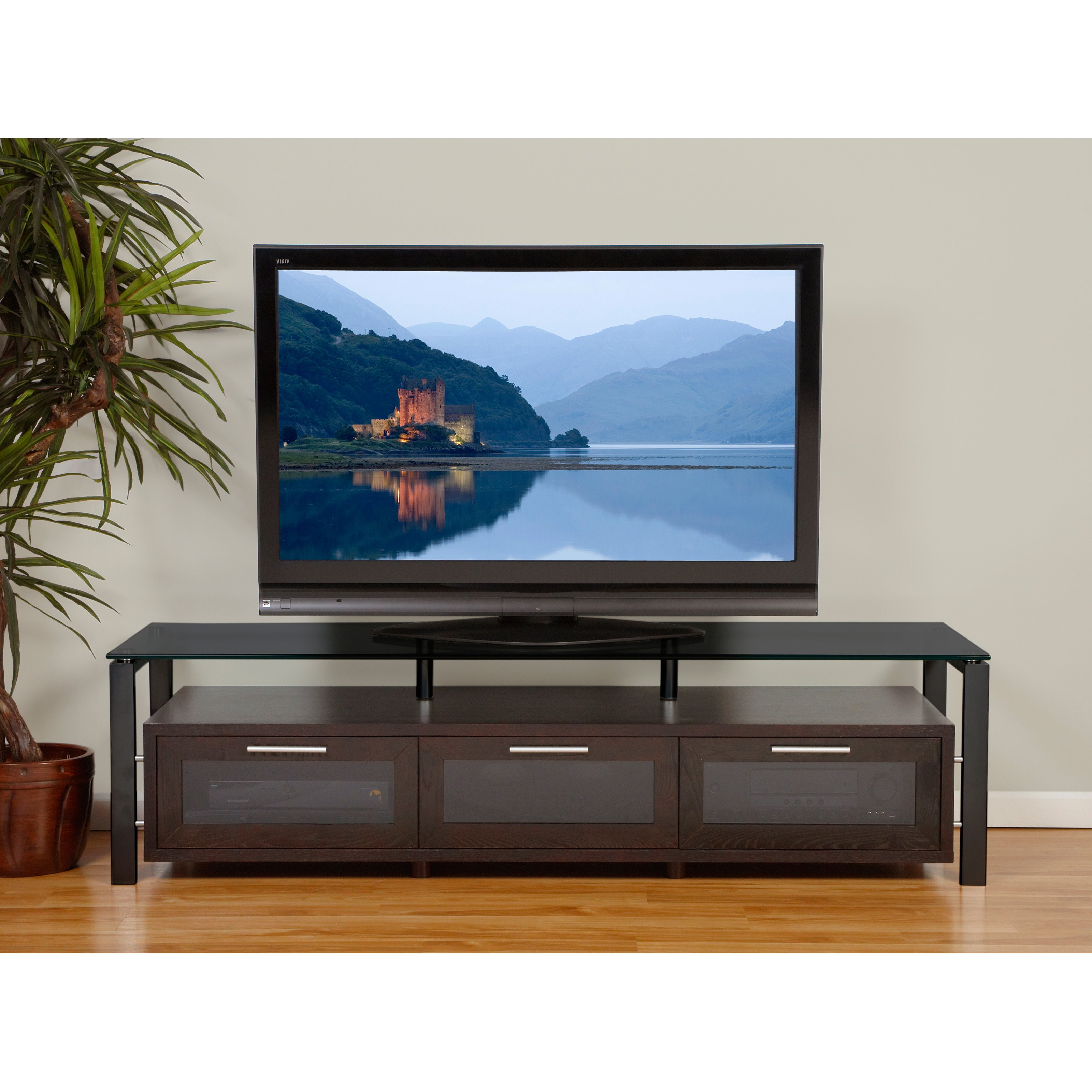 Plateau Decor 71 Inch TV Stand in Espresso/Black and Black