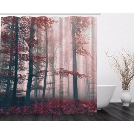 Red Gray Mystic Forest Mystical Foggy Decor Shower Curtain