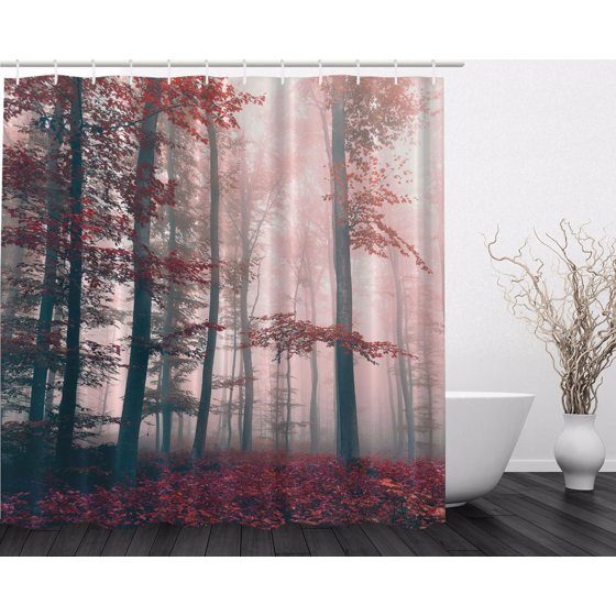 Red Gray Mystic Forest Mystical Foggy Decor Shower Curtain Extra ...