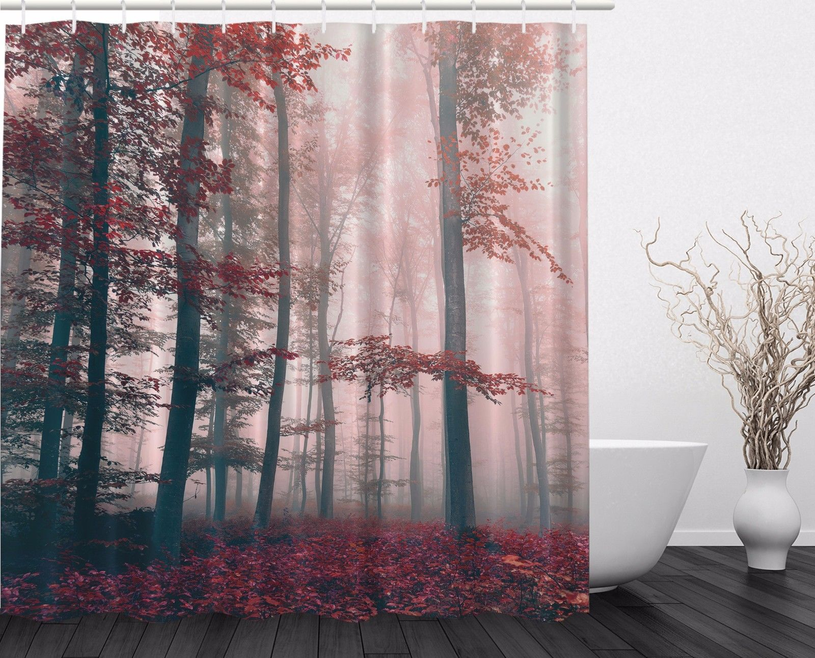 Red Gray Mystic Forest Mystical Foggy Decor Shower Curtain Extra Long 84  Inch