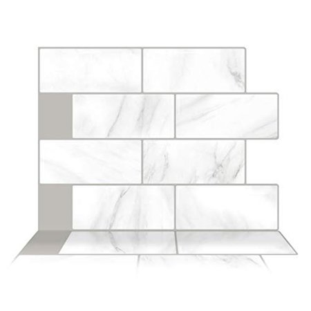 Tic Tac Tiles - Premium Anti Mold Peel and Stick Wall Tile Backsplash in Subway Matt Marble (1 Tile)