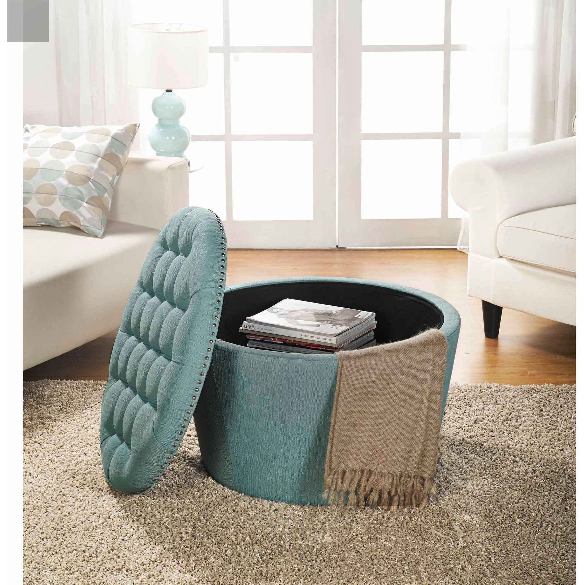 Storage Ottoman With Nail Heads Round Tufted Decorative