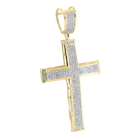 10k Yellow Gold Cross Pendant Micro Pave 0.80 Carat Real Diamonds High End Jesus - High End Cross